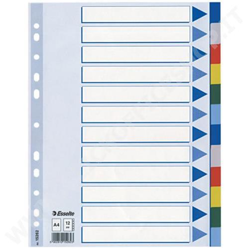 Esselte 12910000 Numeric tab index Polipropilene Multicolore intercalare PP