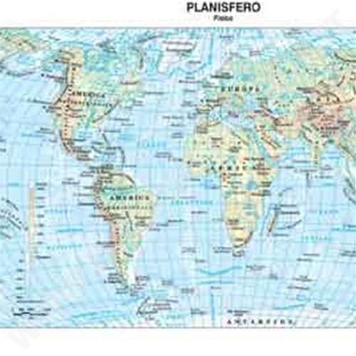 Cartina Geografica Del Mondo Fisica.Carta Geografica Mondo Scolastica Plastificata 297x420mm